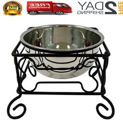 10in elevated adjustable single raised bowls large
