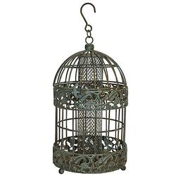 13 in. Tall Rustic Metal Squirrel Proof Caged Bird Feeder