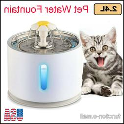 2.4L Automatic Stainless Steel Pet LED Water Fountain Cat Dr
