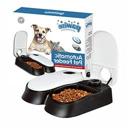 PAWISE 2-Bowl Automatic Pet Feeder for Dogs and Cats, Food D
