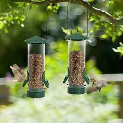 2 PACK Wild Bird Seed Feeder Tube Metal Handle Hanging for O