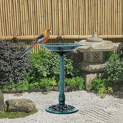 """28"""" Outdoor Pedestal Bird Bath Yard Decor Feeder Planter Res"""
