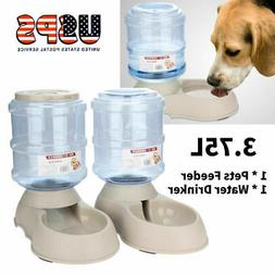 2PACK 3.75L Pet Dog Cat Automatic Dispenser Feeder Bowl Bott