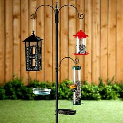 6 Ft. Tall Versatile Bird Feeder Station Kit Stake with 5 Fe