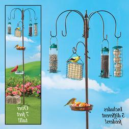 7 Foot Tall Versatile Bird Feeding Station Kit with 5 Feeder