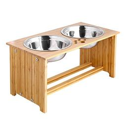 FOREYY Raised Pet bowls for Medium and Large Dogs - Bamboo E