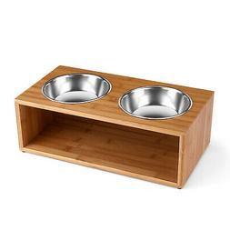 Flexzion Elevated Raised Dog and Cat Pet Feeder Bowls - Rais
