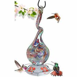 Grateful Gnome - Hummingbird Feeder - Hand Blown Glass - Gna