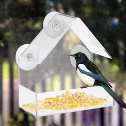Acrylic Transparent Bird Feeder Tray Birdhouse Ceiling Windo