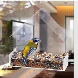 Acrylic Transparent Bird Squirrel Feeder Tray House Window S