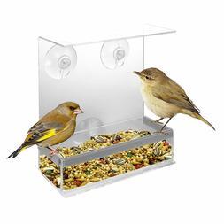 KOVOT Acrylic Window Bird Feeder and Perch - View Birds Clos
