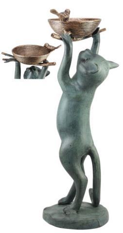 Aluminum Cat Reaching For Bird Nest Garden Bird Feeder Bath
