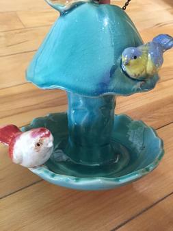 Apple Shaped Ceramic Hanging Garden Bird Feeder Spring Birds