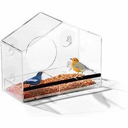 Ashman Window Home Shape Bird Feeder, Refillable Sliding Tra