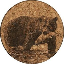 Bear With Fish Cork Coaster