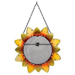 BEST Sunflower Metal and Glass Hanging Mesh Bird Feeder 12.5