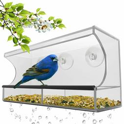 Window Bird Feeder with Strong Suction Cups&Seed Tray,Outdoo