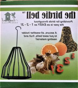 Bird Bell Cage for Nesting Material, Seed, Suet + fruit