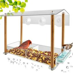 Bird feeder, strong large size with suction cups & seed tray