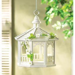 Bird Feeder: Beautifully Hand Crafted White Wood Gazebo