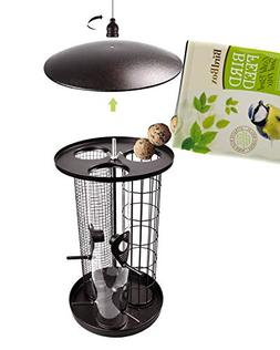 KALLAK Bird Feeder with Triple Tubes, Metal Roof and Hanger,