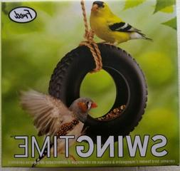 Bird Feeder Fred Swing Time Black Ceramic Tire with Rope