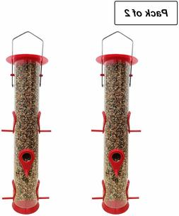 Bird Feeder Hanging Classic Tube Hanging Feeders with 6 Feed