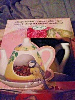Bird Feeder Esschert Design hanging Teapot With Saucer Bird