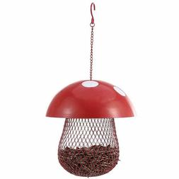 Bird Feeder Outdoor Mushroom Shaped Decorative Metal Hanging
