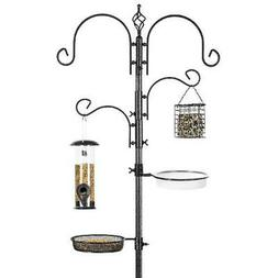 Bird Feeder Stand 91-Inch 2 Feeders, Tray, Bird Bath 4 Hooks