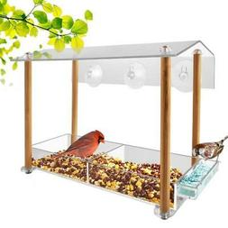 Bird feeder, strong large size with suction cups & seed