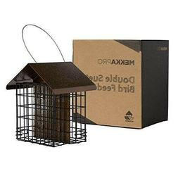 Wild Bird Feeder with Hanging Metal Roof Two Suet Capacity S
