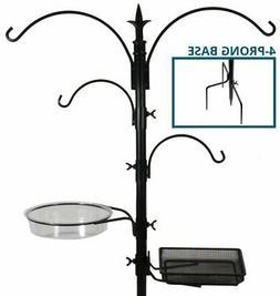 Sorbus Bird Feeding Bath Station, Black Metal Deck Pole for