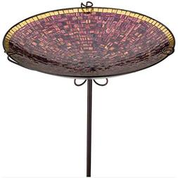 "New Regal Birdbath/Feeder Stake 14"" - Purple Tiles"