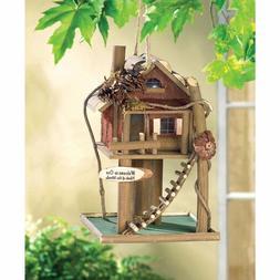 BIRDHOUSE: Wood Log Cabin Bird House Hopper Seed Feeder NEW