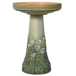 Birds Choice Burley Flowering Daisy Clay Bird Bath