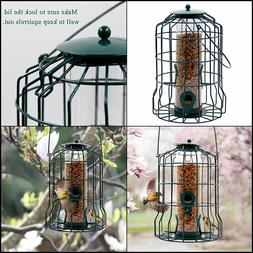 FORUP Caged Tube Feeder, Squirrel Proof Wild Bird Feeder, Ou