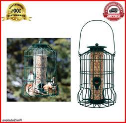 Caged Tube Feeder Squirrel Proof Wild Bird Seed Feeders Yard