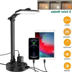 LED Desk Lamp Touch Control Eye-Caring Reading Table Light w
