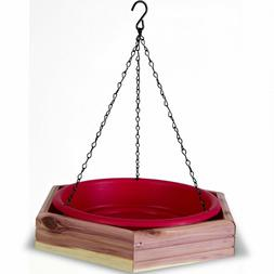 Cedar Bird Bath Feeder Outdoor Hanging Food Water Tray Wildl