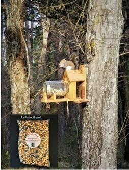 Cedar Squirrel Feeder w/Gallon Glass Jar