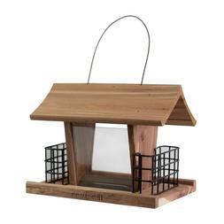HomeGrown Cedar Wood Suet Hopper Bird Feeder Outdoor Hanging