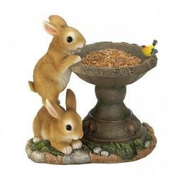 Decorative Small Bird Feeder Playful Bunnies Seed Bird Feede