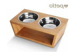 Dog and Cat Bamboo Pet Feeder - Double Bowl Raised Stand + 2