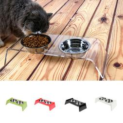 DOG FEEDING STATION Stainless Steel Double Pet Bowl+Raised S
