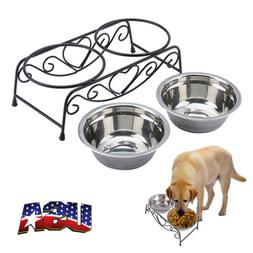Double Bowl Dog Cat Feeder Elevated Raised Stand Feeding Foo