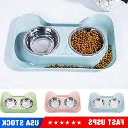 Double Dog/Cat Pet Bowls Dish Stainless Steel Feeder Cat Foo