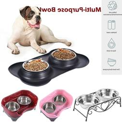 Double Dog Pet Bowls Dish Stainless Steel Stand Feeder Cat F