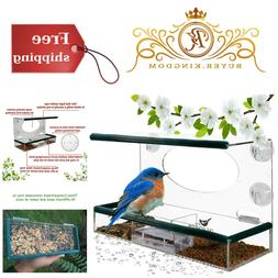Easy Mount Window Bird Feeder With Seed Tray For Outside Att