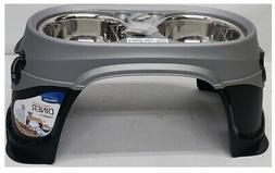 Petmate Easy Reach Diner Elevated Double 3-Cup Dog Feeder, B